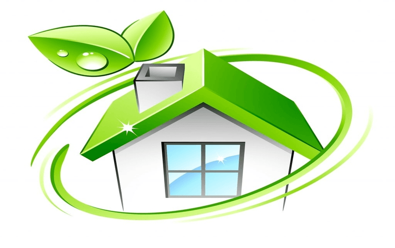 Abstract image of house encompassed with green ring and leaves - Eco Friendly Homes