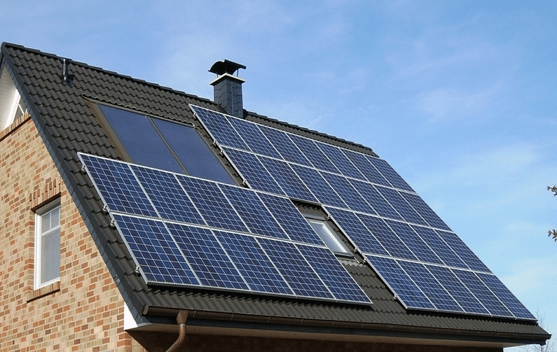 Roof of House with Solar Panels - Eco Friendly House
